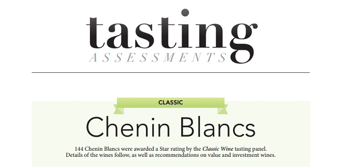 Tasting assessments, The Top Six 'Classic' Chenin Blancs